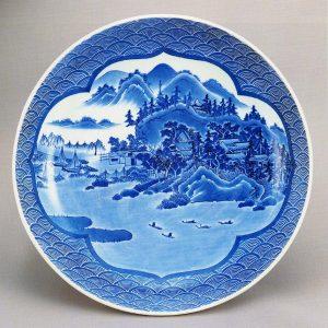 《鍋島 染付山水図大皿》
