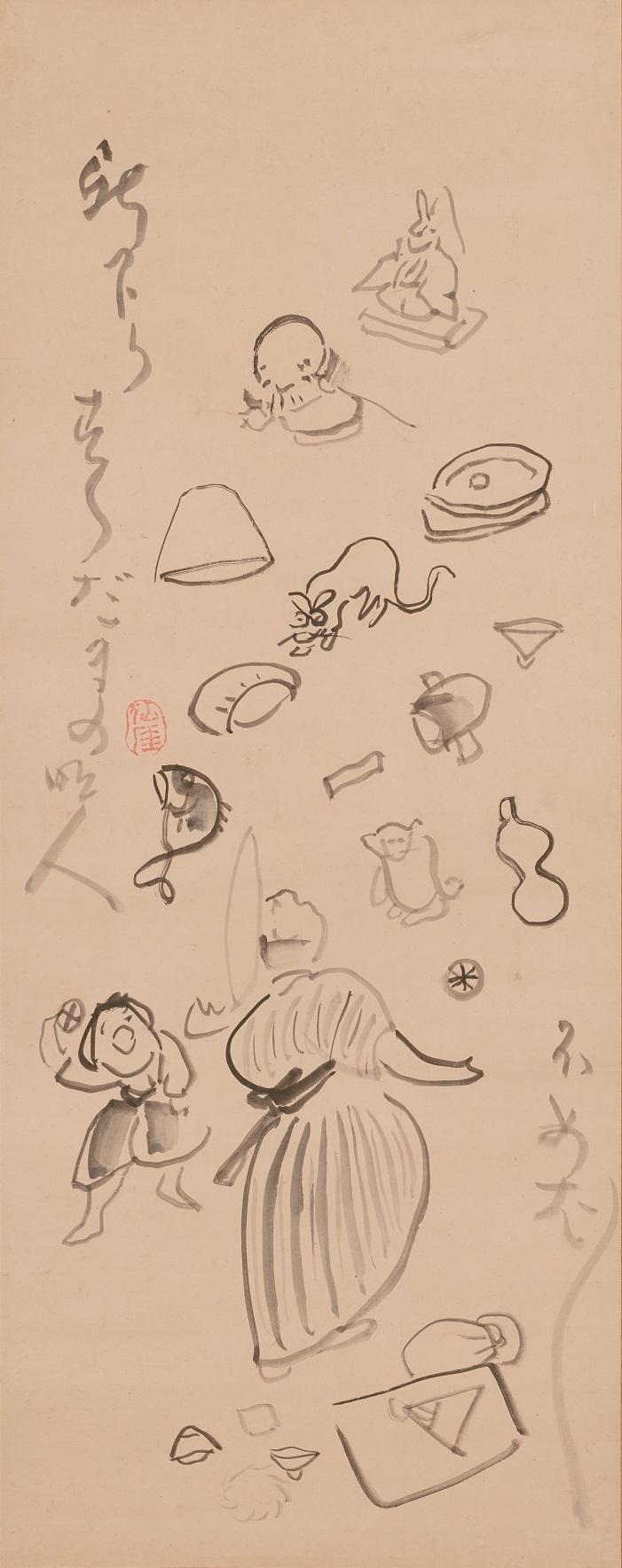 仙厓義梵筆 《すす玉名人図》