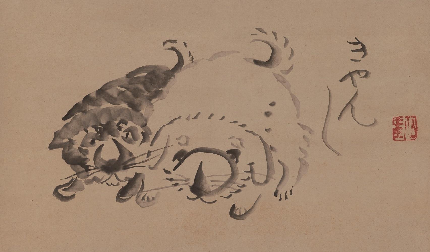 仙厓義梵筆 《双狗図》