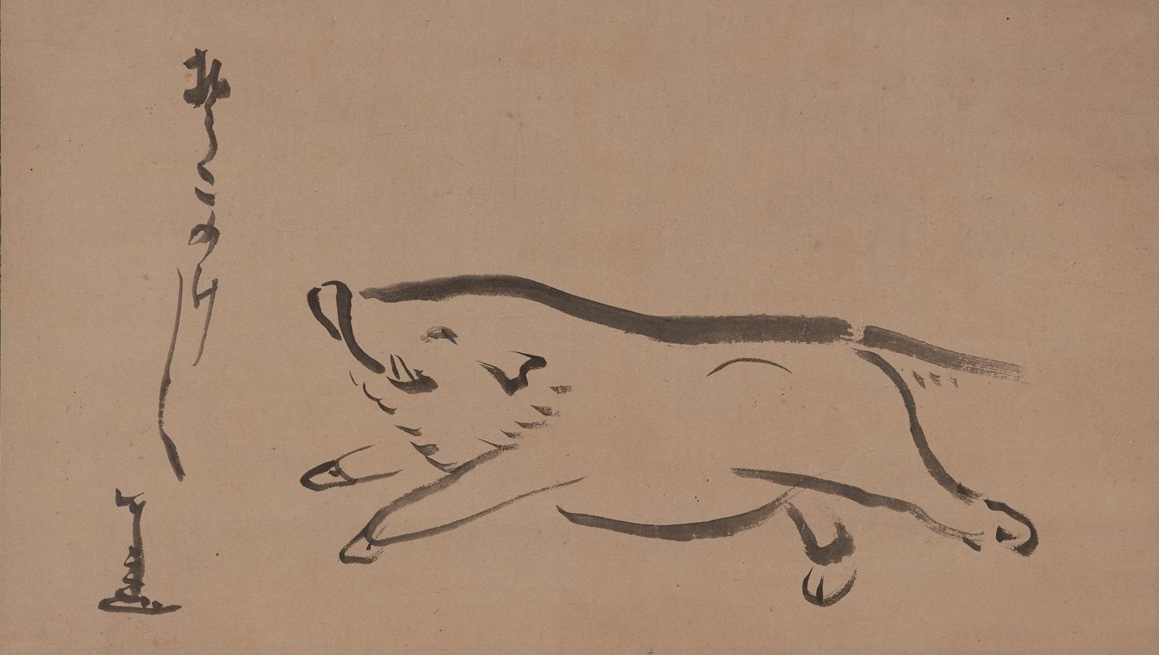 仙厓義梵筆 《猪図》